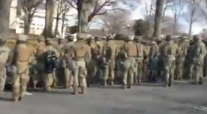WATCH: National Guardsmen Protest BIden Motorcade