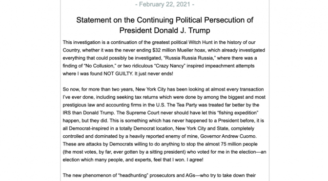 Statement on the Continuing Political Persecution of President Donald J. Trump