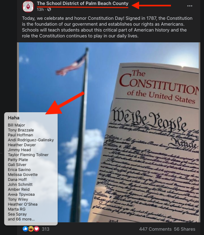 School District of Palm Beach County Constitution Day Facebook