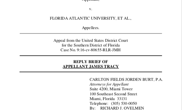 James Tracy Files Reply Brief in Free Speech Appeal